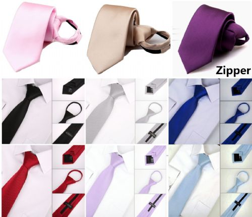 Hand made Men's Easy To Pull Zipper lazy necktie business wedding formal Tie UK
